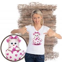 "Koszulka damska z kotem ""Kitty Hearts"""