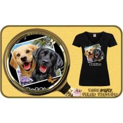 Koszulka damska z pieskiem LAB DOGS SELFIE