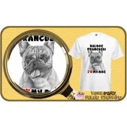 Koszulka męska z psem I LOVE BULDOG FRANCUSKI