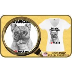 "Koszulka damska z psem ""I LOVE BULDOG FRANCUSKI"""