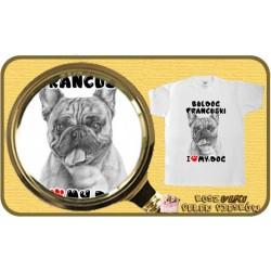 Koszulka chłopięca z psem I LOVE BULDOG FRANCUSKI