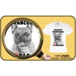Koszulka dziewczęca z psem I LOVE BULDOG FRANCUSKI