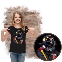 """Koszulka dziewczęca z kotem """"CAT FIREFIRHTER"""""""