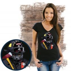 """Koszulka damska z kotem """"CAT FIREFIGHTER """""""