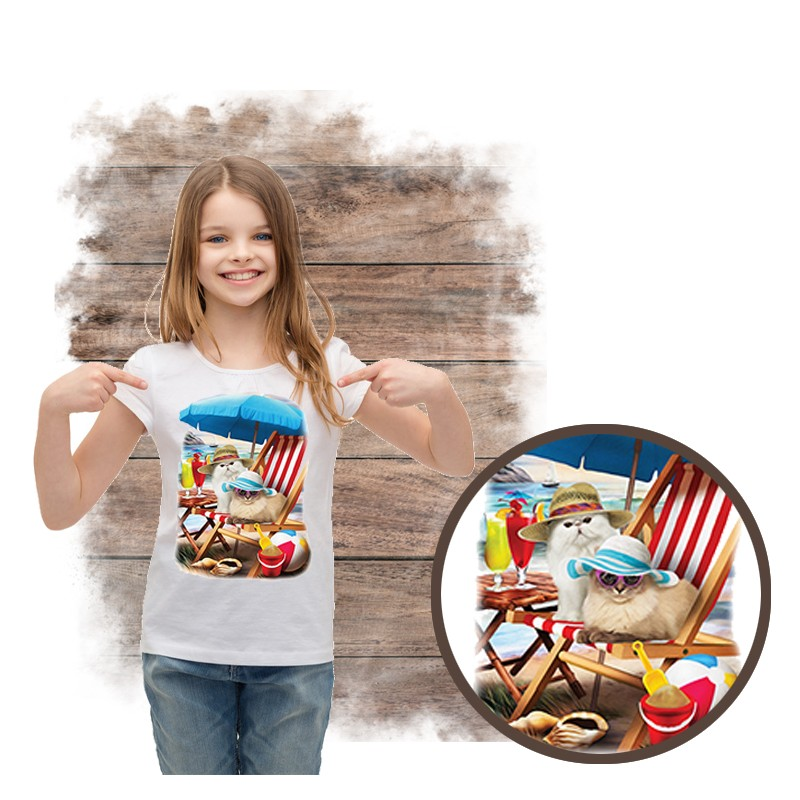 """Koszulka dziewczęca motyw plaża  """"BEACH CATS"""""""
