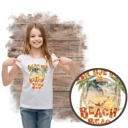 """Koszulka dziewczęca motyw plaża  """"ALL SHE DOES"""""""