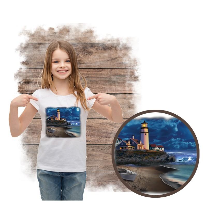 """Koszulka dziewczęca motyw morze  """"BEACH LIGHTHOUSE"""""""