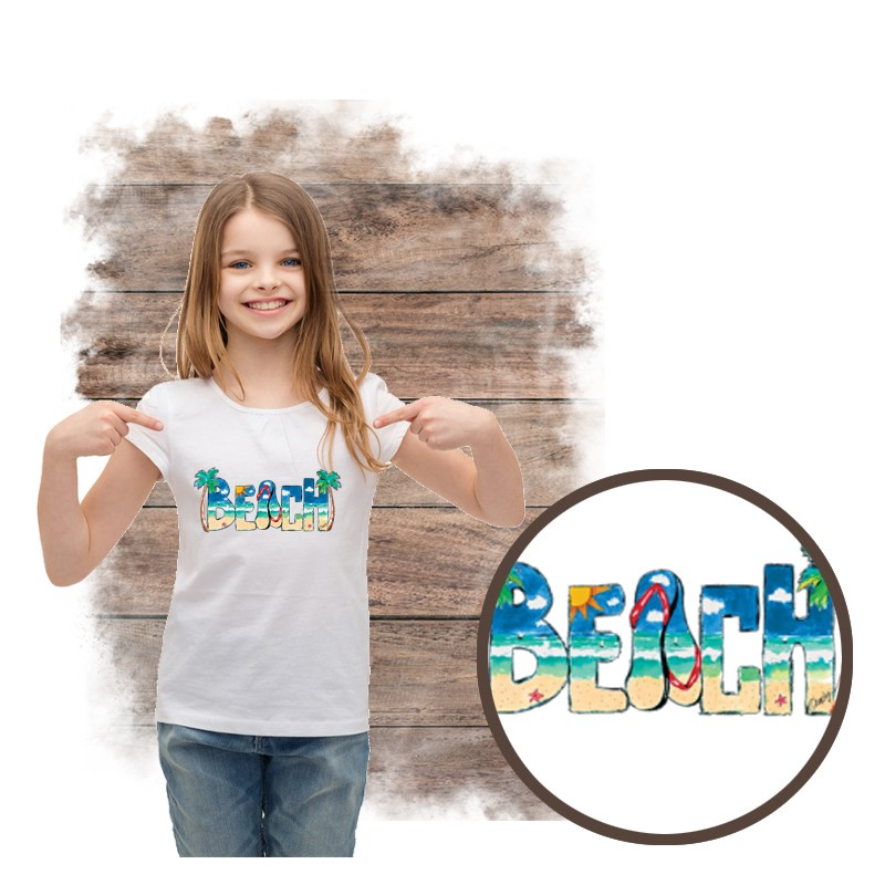 """Koszulka dziewczęca motyw plaża  """"BEACH DAYTIME"""""""