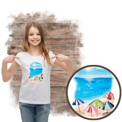 """Koszulka dziewczęca motyw plaża  """"UMBRELLA BEACH"""""""