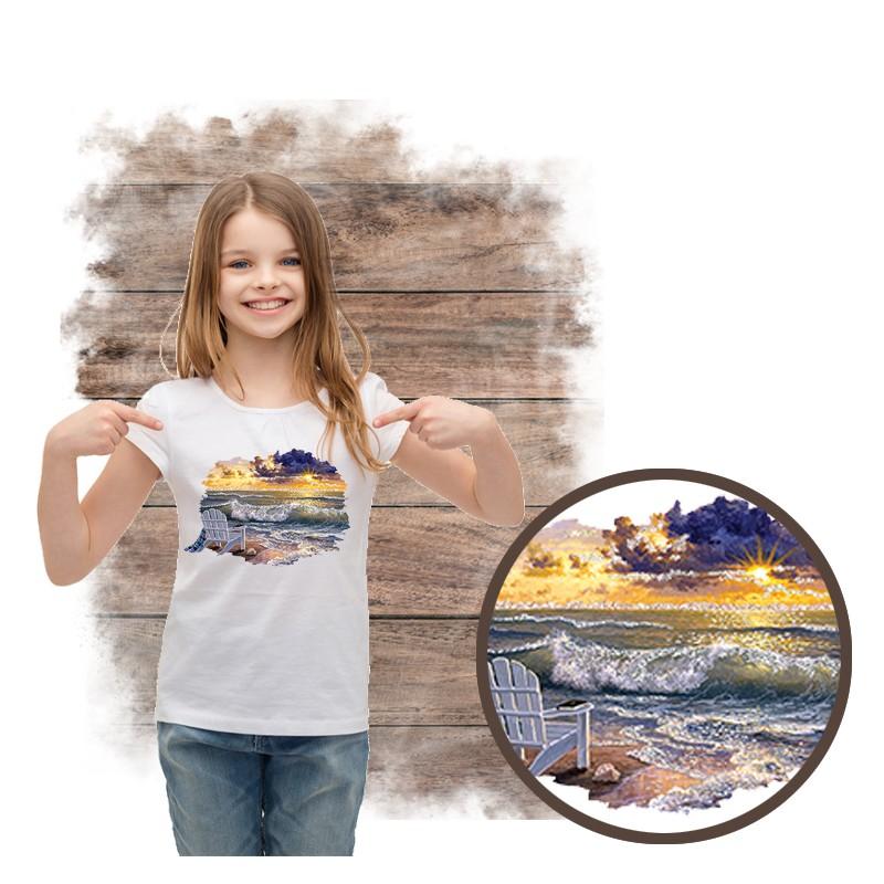 """Koszulka dziewczęca motyw plaża  """"BE STILL"""""""