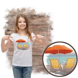 """Koszulka dziewczęca motyw plaża  """"ORANGE BEACH UMBRELLA"""""""