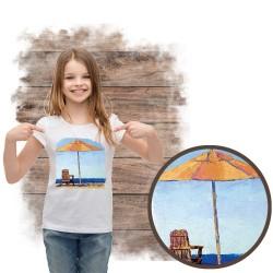 """Koszulka dziewczęca motyw plaża  """"RELAKSING"""""""