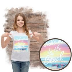 """Koszulka dziewczęca motyw plaża  """"TAKE ME TO THE BEACH"""""""