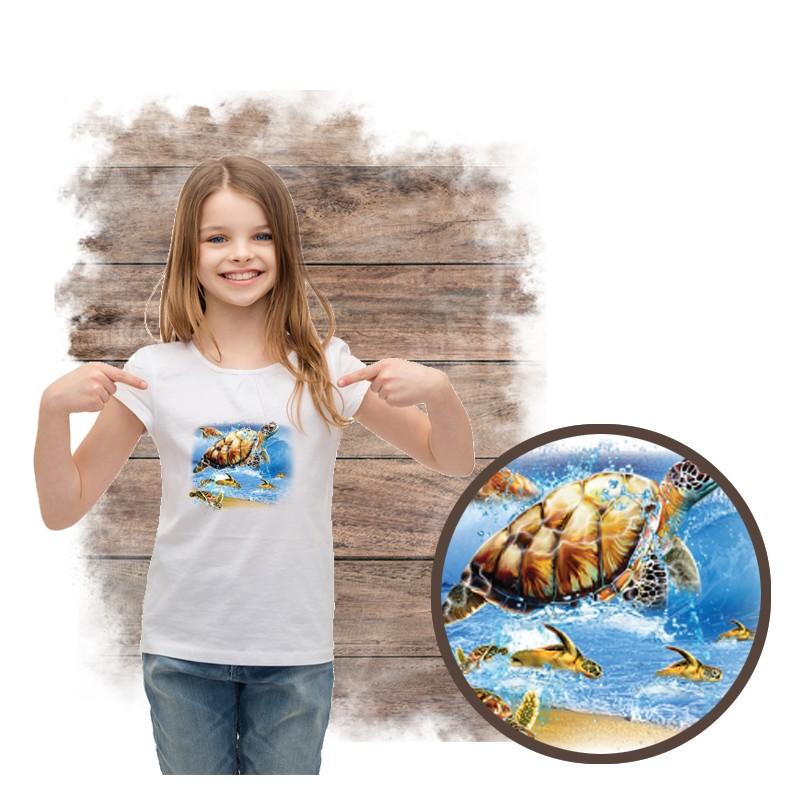"""Koszulka dziewczęca motyw plaża  """"TURTLE INTO THE SEA"""""""