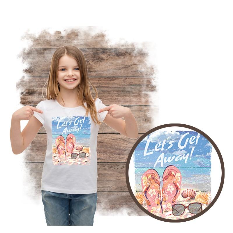 """Koszulka dziewczęca motyw plaża  """"LET'S GET AWAY"""""""