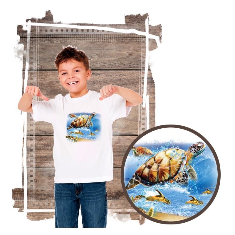 """Koszulka chłopięca motyw plaża  """"TURTLE INTO THE SEA"""""""