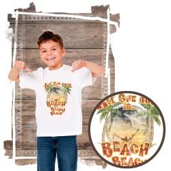 """Koszulka chłopięca motyw plaża  """"ALL SHE DOES"""""""