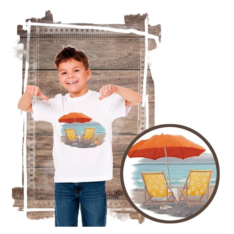 """Koszulka chłopięca motyw plaża  """"ORANGE BEACH UMBRELLA"""""""