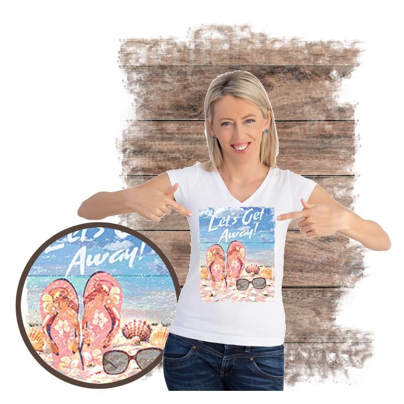 """Koszulka damska motyw plaża  """"LET'S GET AWAY"""""""