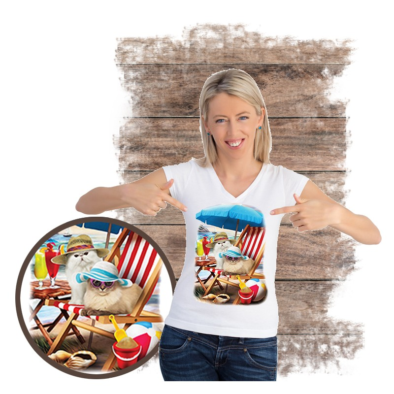 "Koszulka damska motyw plaża  ""BEACH CATS"""