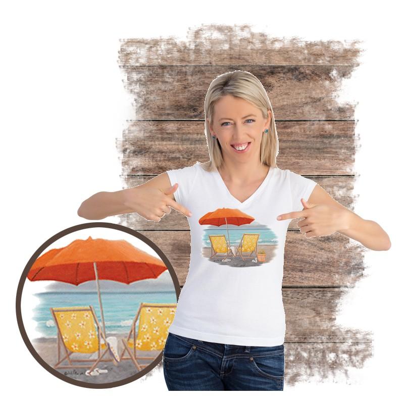 "Koszulka damska motyw plaża  ""ORANGE BEACH UMBRELLA"""