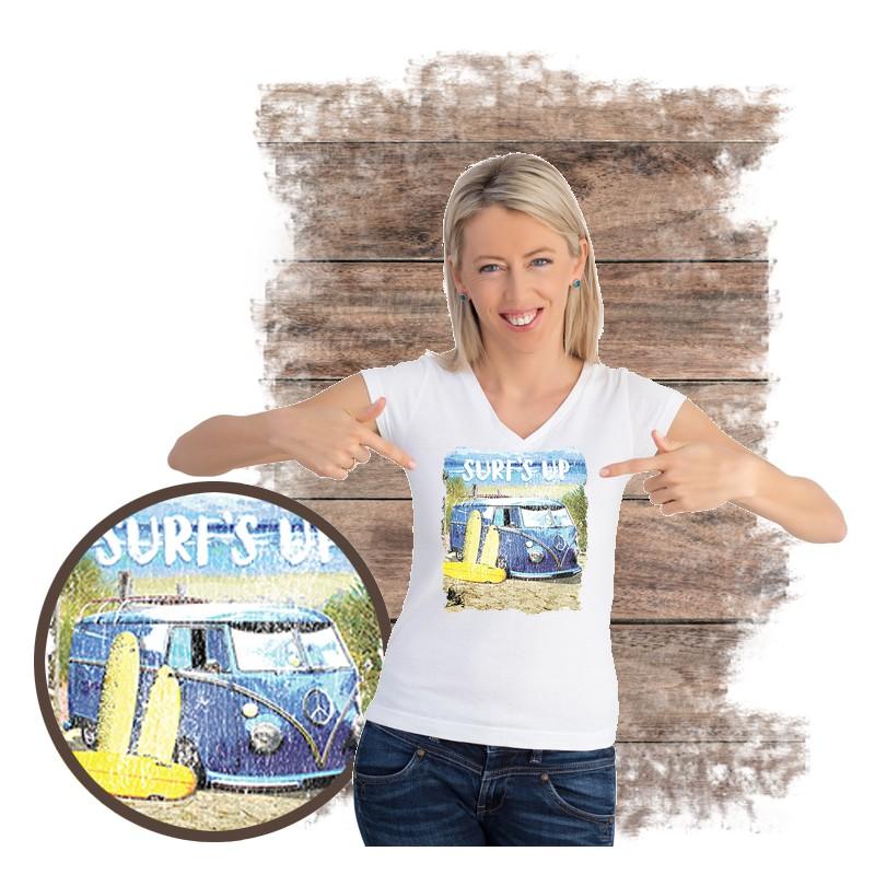 """Koszulka damska motyw plaża  """"SURF'S UP VAN"""""""