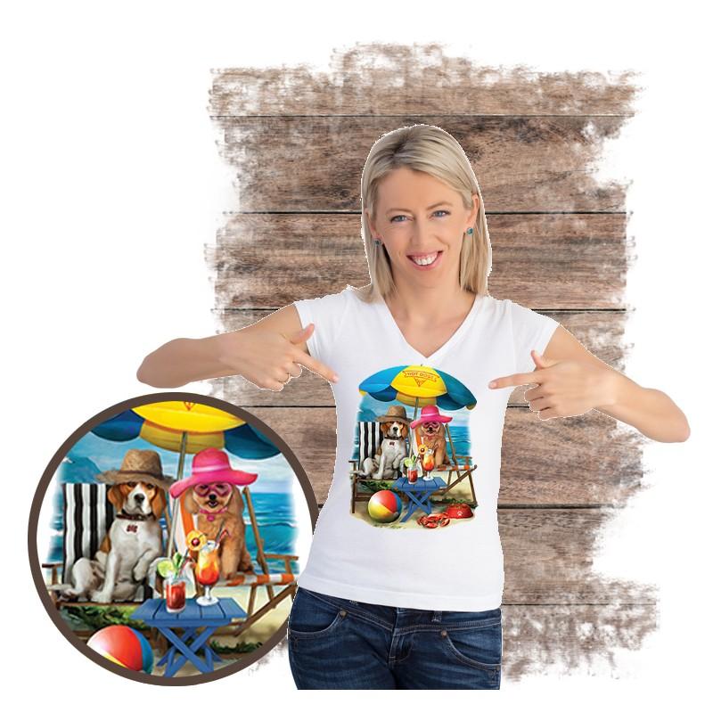"Koszulka damska motyw plaża  ""BEACH DOGS"""