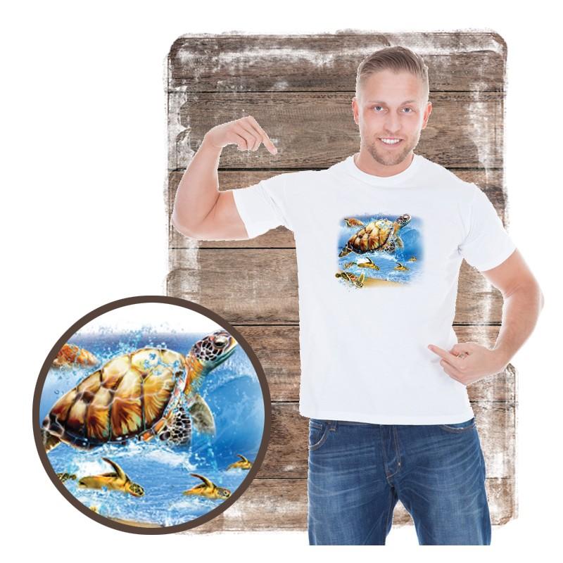 "Koszulka męska motyw plaża ""TURTLE INTO THE SEA"""