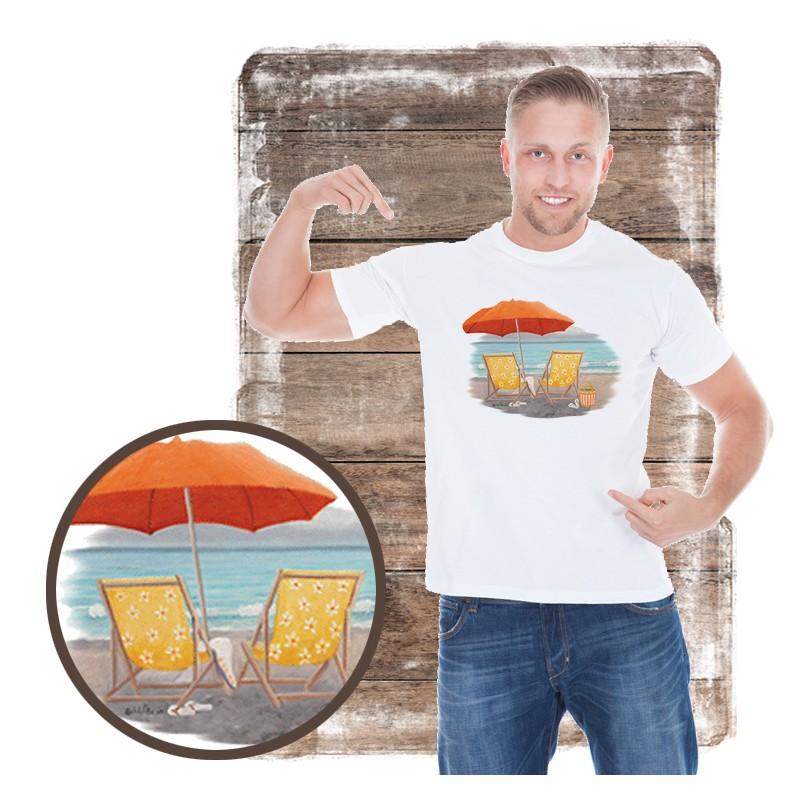 "Koszulka męska motyw plaża ""ORANGE BEACH UMBRELLA"""