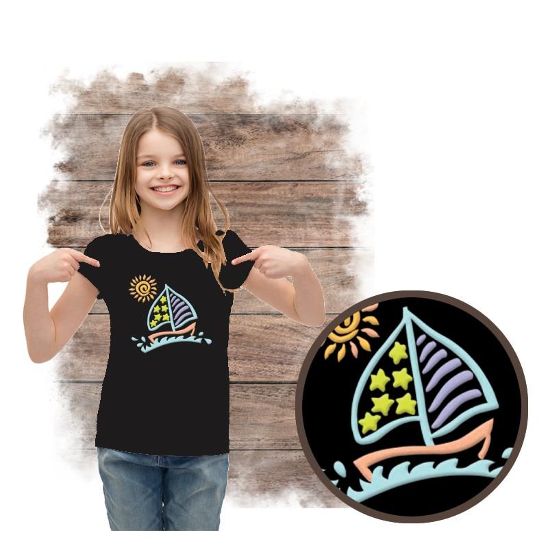 """Koszulka dziewczęca motyw plaża  """"SAILBOAT SPARKLE PUFF"""""""