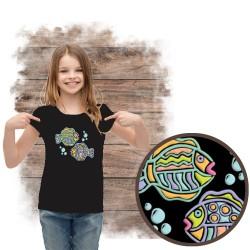 """Koszulka dziewczęca motyw morze  """"BUBBLY FISH SPARKLE PUFF"""""""
