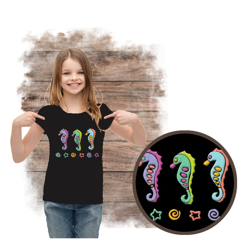 """Koszulka dziewczęca motyw plaża  """"SEAHORSES SPARKLE PUFF"""""""