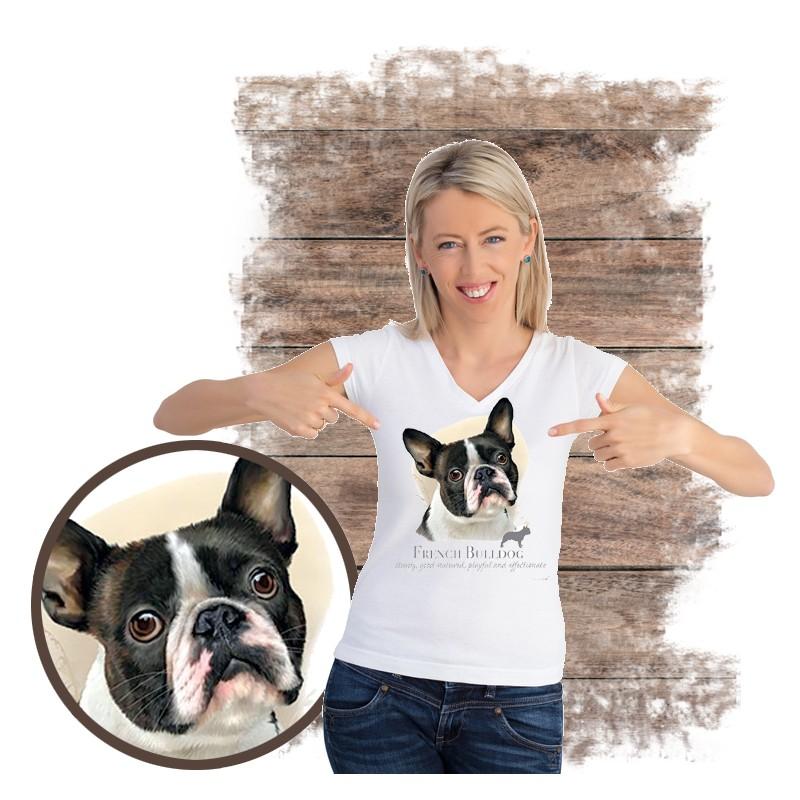 "Koszulka damska z psem ""buldog francuski"""