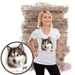 "Koszulka damska z psem ""alaskan malamute"""