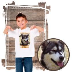 """Koszulka chłopięca z pieskiem """"Alaskan Malamute kocha za żarcie"""""""
