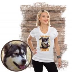 "Koszulka damska z pieskiem ""Alaskan Malamute kocha za żarcie"""