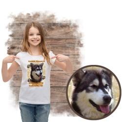 """Koszulka dziewczęca """"Alaskan Malamute kocha za żarcie"""""""