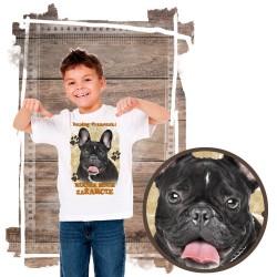 """Koszulka chłopięca z psem """"BULDOG FRANCUSKI kocha za żarcie"""""""