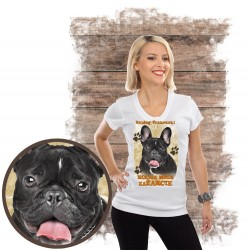 "Koszulka damska z psem ""BULDOG FRANCUSKI kocha za żarcie"""