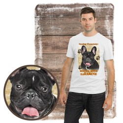 "Koszulka męska z psem ""BULDOG FRANCUSKI kocha za żarcie"""