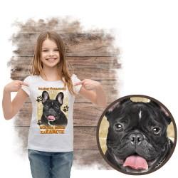 """Koszulka dziewczęca z psem """"BULDOG FRANCUSKI kocha za żarcie"""""""