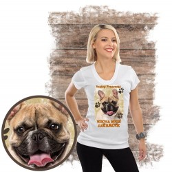 "Koszulka damska z psem ""BULDOG FRANCUSKI kocha zażarcie"""