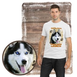 "Koszulka męska z psem ""Siberian Husky kocha zażarcie"""