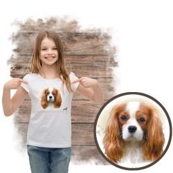 """Koszulka dziewczęca z psem """"cavalier king charles spaniel"""""""
