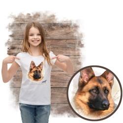 Koszulka dziewczęca z psem owczarek niemiecki