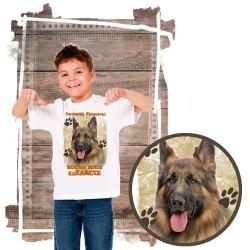 Koszulka chłopięca z psem Owczarek Niemiecki kocha zażarcie