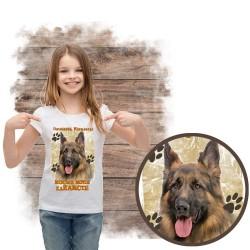 Koszulka dziewczęca  Owczarek Niemiecki kocha za żarcie
