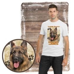 """Koszulka męska z psem """"Owczarek Niemiecki kocha zażarcie"""""""