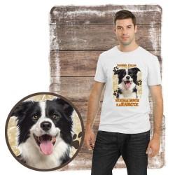 "Koszulka męska z psem ""border collie kocha zażarcie"""