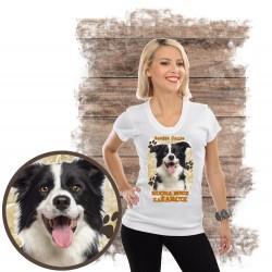 "Koszulka damska z psem ""border collie kocha zażarcie"""